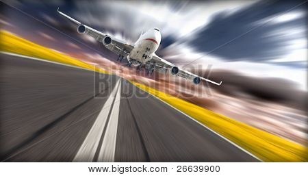 Jet plane above runway with blur background