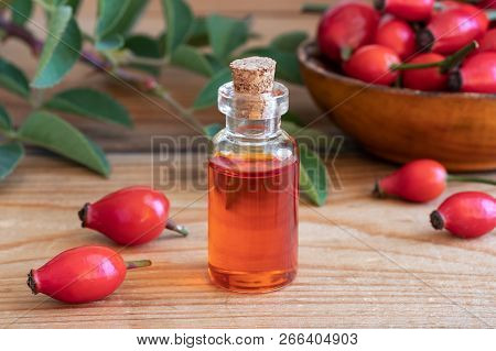 A Bottle Of Rosehip Seed Oil And Berries