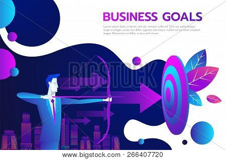 Successful Businessman Hold Arrow In Hand, Achievement Goal. Aim In Business Concept. Target Isolate