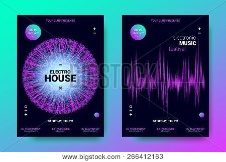 Electronic Music Posters. Trance Music Festival Promotion. Vector Wave Sound Amplitude Design. Abstract Sound Poster for Dj Performance. Equalizer of Distorted Dotted Lines. Movement of Waves Poster. poster