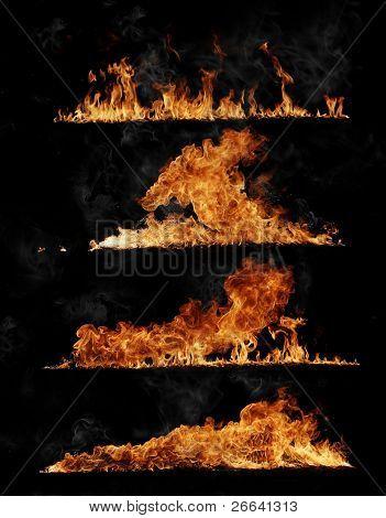 Llamas de fuego colección, aislado sobre fondo negro