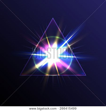 Transparent Triangular Pyramid With A Circle Sphere In The Center On The Background Of A Bright Flas