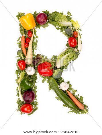 Vegetable alphabet letter