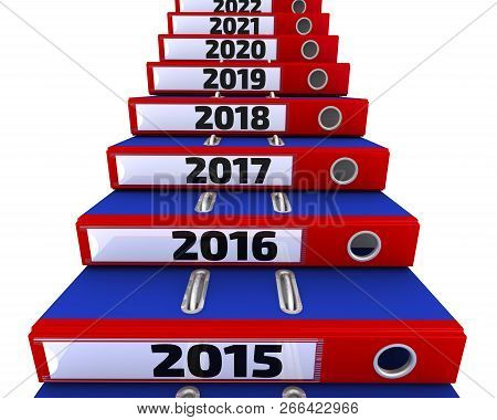Folders Stacked In The Form Of Steps, Labeled The Years 2015-2021. Office Folders Stacked In The For