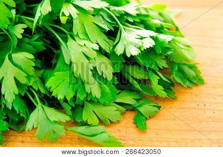 A Bunch Of Parsley On The Board