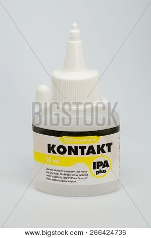 Pruszcz Gdanski, Poland - October 9, 2018: 50 Ml Of Kontakt Ipa Plus Isopropyl Alcohol.
