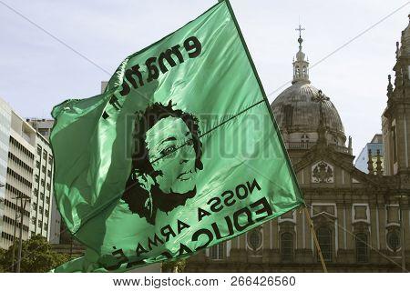 Rio De Janeiro, Brazil. October 21, 2018: A Flag With Face Of Marielle Franco (brazilian Politician)