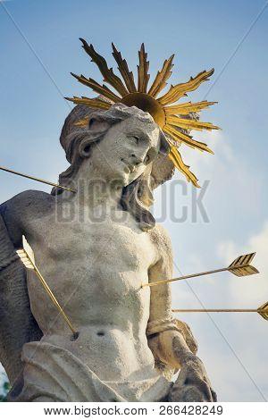 Saint Sebastian Shot With Arrows Martyr Statue, Marian Plague Column Of Saint Rosalia, Velehrad Mona