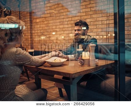 Valentines Day With Sexy Woman And Bearded Man. Business Meeting Of Man And Woman. Proposal And Anni