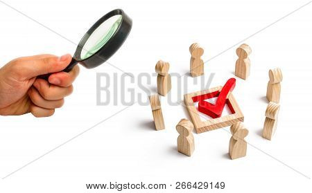 People stand in a circle and look at the check mark in the box. election, poll or referendum. Poll people. Voters participate in elections of parliament. Decision making, teamwork. Selective focus poster