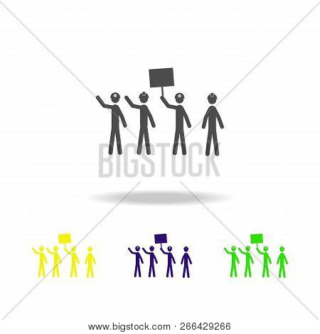 Striking Miners Multicolored Icons. Elements Of Protest And Rallies Icon. Signs And Symbol Collectio