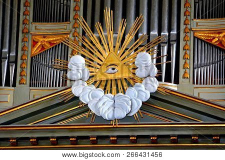 Organ, Inside The Medieval Fortified Saxon Church In The Village Crit, Transylvania, Romania