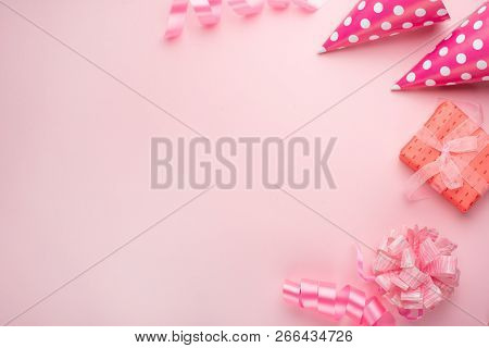 Accessories For Girls On A Pink Background. Invitation, Birthday, Girlhood Party, Baby Shower Concep