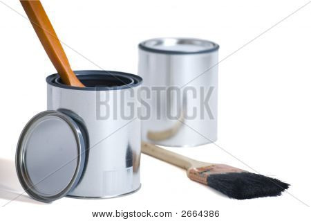 New Paint Cans With Brushes
