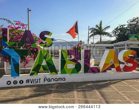 Las Tablas, Panama - March 2018: Famous Colorful Name Sign Of The City Las Tablas In  Republic Of Pa