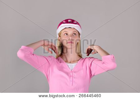 Sport Vacation. Healthy. Sport Attributes. Sports Woman In Protective Helmet. Portrait Of Young Woma