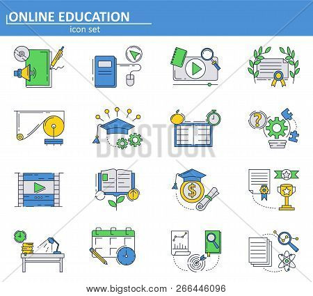 Vector Set Of Online Education Icons In Thin Line Style. School And College Online Tutorials And Cou