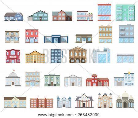 Buildings Set. Buildings Set. Cottages, Store, Museum, Hospital, Library, Bank, Cinema, Religion, Po