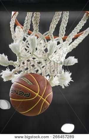 Rio De Janeiro, Brazil - November 01, 2018: Basketball Ball Coming Out Of Basketball Net During Matc