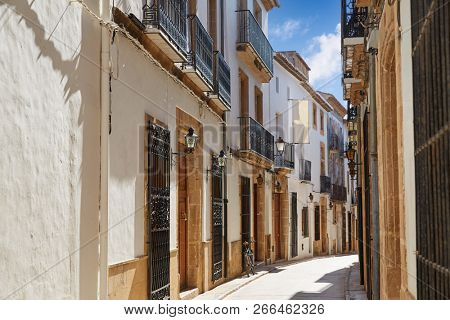 Javea also Xabia old town white facades in Mediterranean alicante of spain