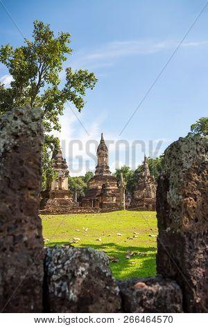 UNESCO World Heritage site Wat Jedi Jed Teaw in Si Satchanalai Historical Park, Sukhothai, Thailand. poster