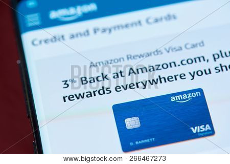 New York, Usa - November 1, 2018: Amazon Credit Card Service On Smartphone Screen Close Up View