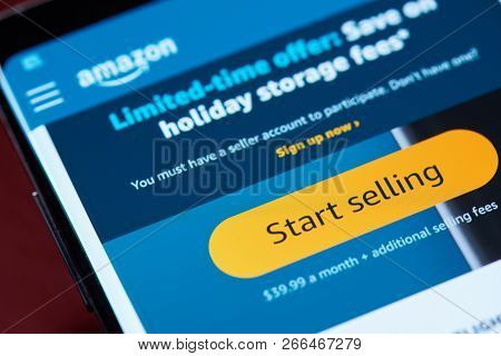 New York, Usa - November 1, 2018: Start Selling On Amazon On Smartphone Screen Close Up View