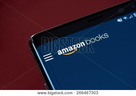 New York, Usa - November 1, 2018: Amazon Books App Menu On Smartphone Screen Close Up View
