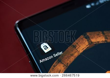 New York, Usa - November 1, 2018: Amazon Seller App Icon On Smartphone Screen Close Up View