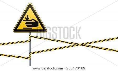 Caution, Hands May Be Injured. Warning Sign Safety. Attention Is Dangerous. Yellow Triangle With Bla