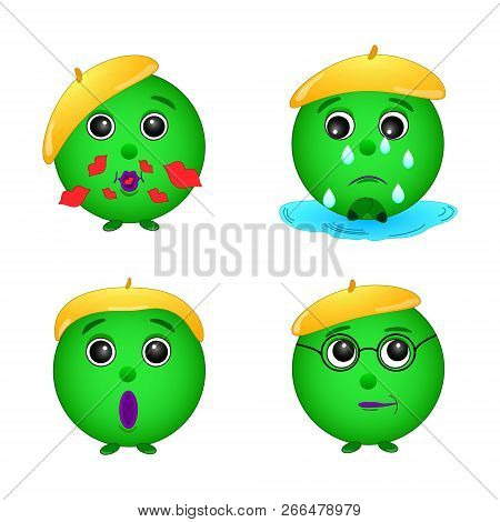 A set of green smile  emotions , face, gingerbread man, green man, illustration, vector