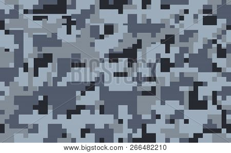 Pixel Camouflage Pattern Background, Seamless Vector Illustration. Classic Military Clothing Style.