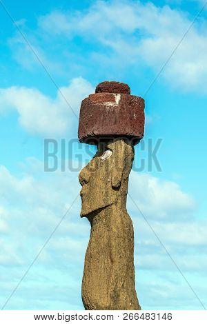 Shot Of Moai Statue At Easter Island