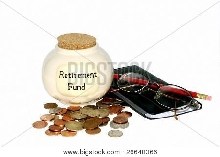 Retirement fund jar with checkbook and glasses