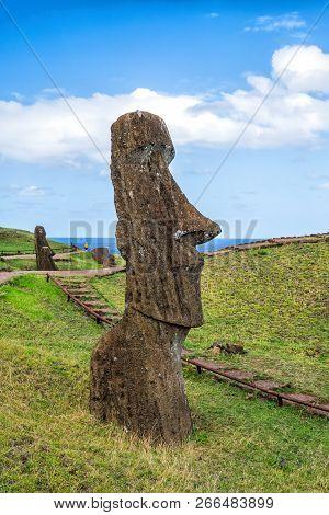 Moai Statues In The Rano Raraku Volcano In Easter Island, Chile