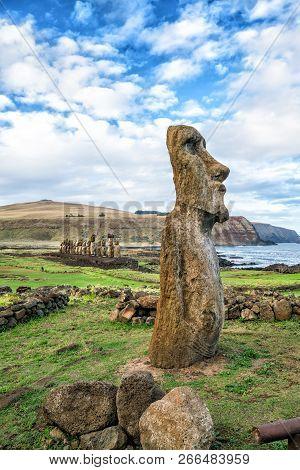 Moais At Ahu Tongariki In Easter Island