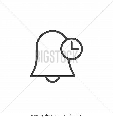 Bell And Clock Outline Icon. Linear Style Sign For Mobile Concept And Web Design. Time Notification