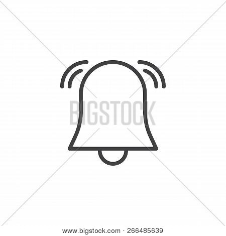 Alarm Bell Outline Icon. Linear Style Sign For Mobile Concept And Web Design. Notification Bell Simp