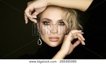 Beauty Face Of Young Caucasian Model Girl With Natural Nude Makeup And Hand Near Clean Skin. Skincar