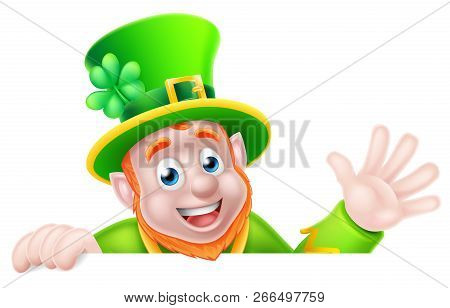 Leprechaun Cartoon Character Peeking Above A Sign And Waving Hello