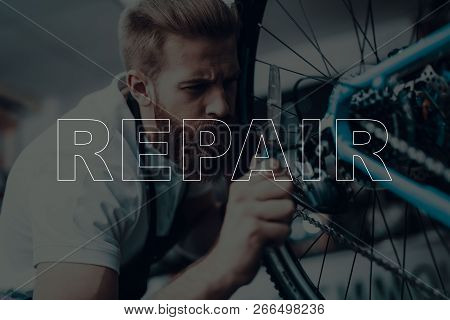 Bicycle Shop. Bicycle Repair. Salesman Using A Bicycle. Bicycle Is Broken. Salesman Using Pedal Of B