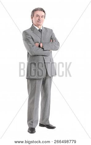 Full Growth.confident Businessman Portrait Isolated On White Background