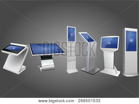 Six Promotional Interactive Information Kiosk, Advertising Display, Terminal Stand, Touch Screen Dis