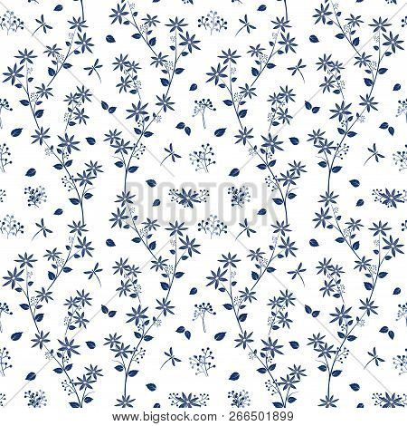 Monotone On Blue Shade Flowers Garden Seamless Pattern,design For Fashion,fabric,textile,print Or Wa