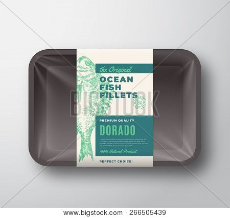 The Original Fish Fillets Abstract Vector Packaging Design Label On Plastic Tray With Cellophane Cov