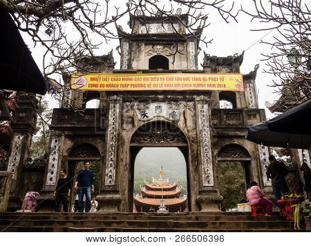 Huong Son, Vietnam - March 8, 2016: At The Gate Of Thien Tru Pagoda, One Of The Buddhist Temples Mak