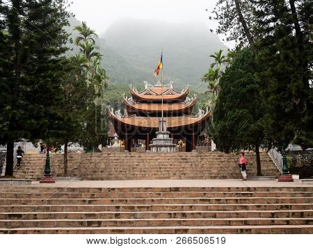 Huong Son, Vietnam - March 8, 2016: Mist Falling Over Thien Tru Pagoda, One Of The Buddhist Temples