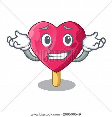 Grinning Heart Character Ice Cream On Candy