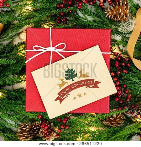 Christmas present with a greeting card mockup