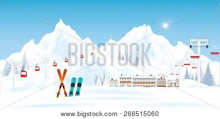 Ski Resort With Cable Cars Or Aerial Lift And Ski-lift Moving Above The Ground Against Winter Landsc